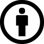 A small, genderless human icon inside a white circle with a black border. This icon is used to denote the Attribution CC license.