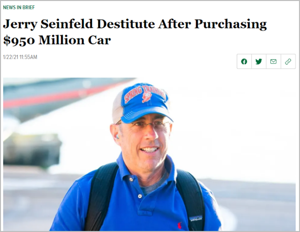 Headline claiming that Jerry Seinfeld paid almost one billion dollars for a car