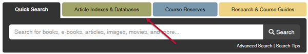Article Indexes and Databases tab on the library homepage