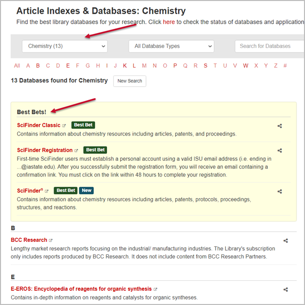 Article Indexes and Databases page