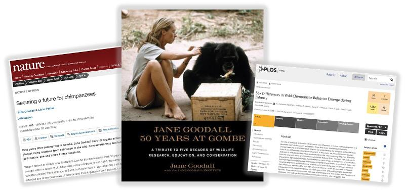 Screenshots of Goodall's journal articles and book