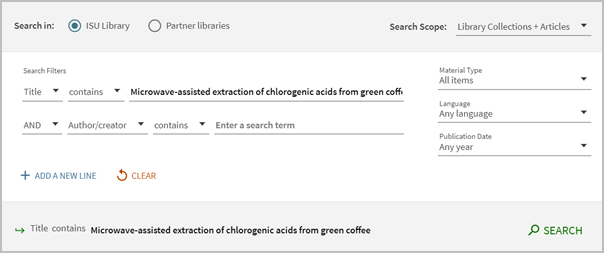 Searching for a journal article by the article title