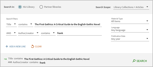 Searching for a book by title and author