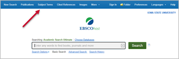 Subject terms location in Academic Search Ultimate