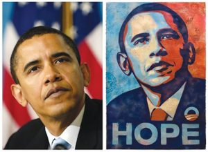 Obama poster and photo