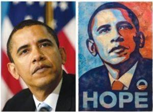 Photo of Barack Obama and stylized poster based on the photo