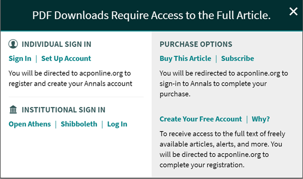 Access screen asks for individual login, institutional login or a purchase to download a pdf