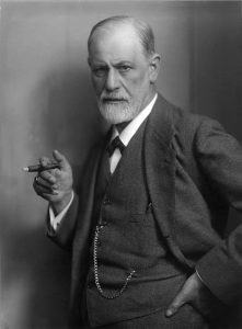 A black and white photo of Signumd Freud.
