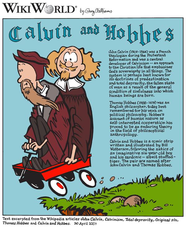 John Calvin and Thomas Hobbes drawn in a cartoon facsimile of the comic, Calvin and Hobbes.