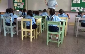 elementary students in a classroom