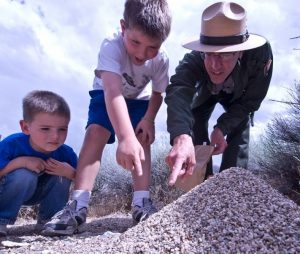 A park ranger points at something at the ground while two children watch
