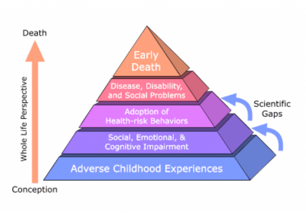 An image of the aces pyramid. From the bottom of the pyramid it starts with adverse childhood experiences, then social, emotional, and cognitive impairment. Next is adoption of health-risk behaviors, then disease, disability, and social problems. The top is early death.