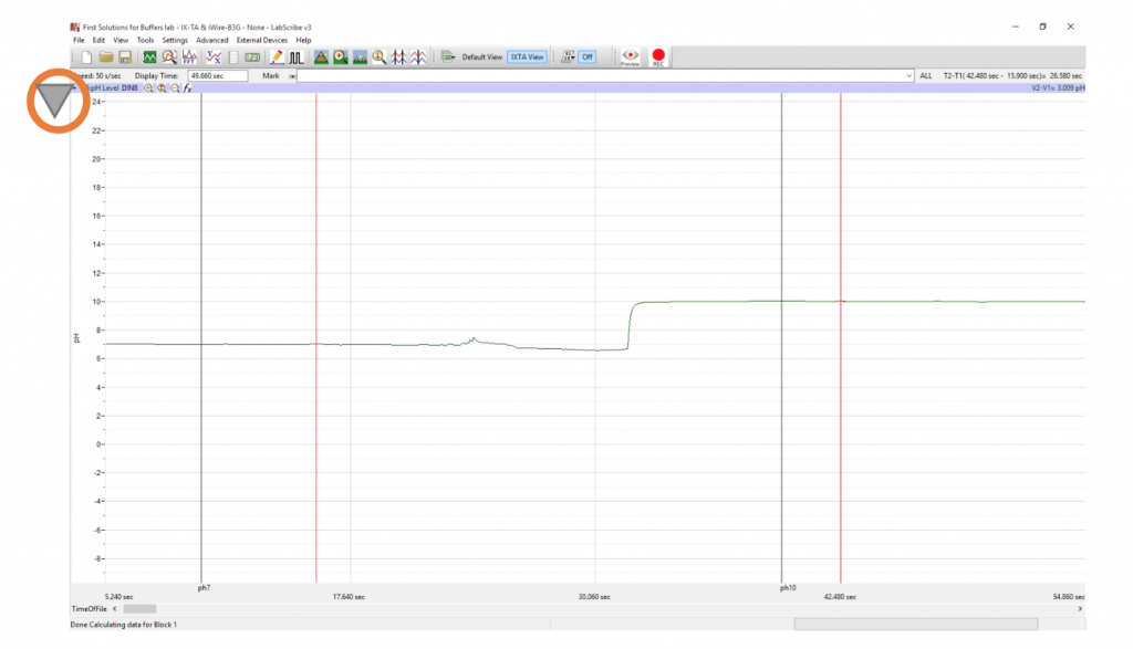 pH calibration data in LabScribe