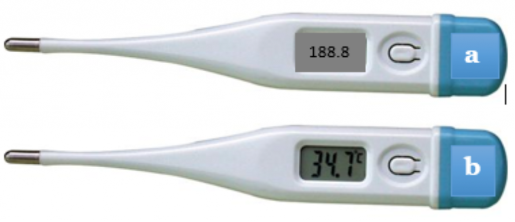 Two digital thermometers, one showing F and one showing C temp.