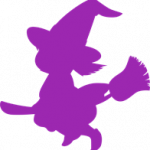 The silhouette of a cartoon witch character