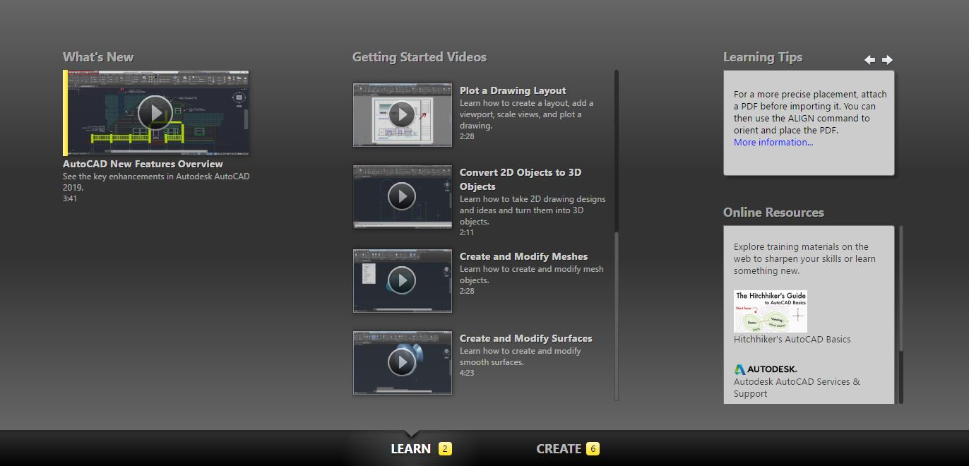 This chaptered image shows the learning page on the welcome page. You can find tutorials that Autodesk provided.