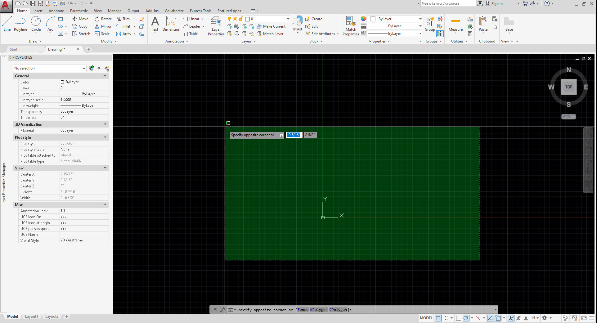 It shows the result of cross selection on AutoCAD software. The cross selection shows in green color.