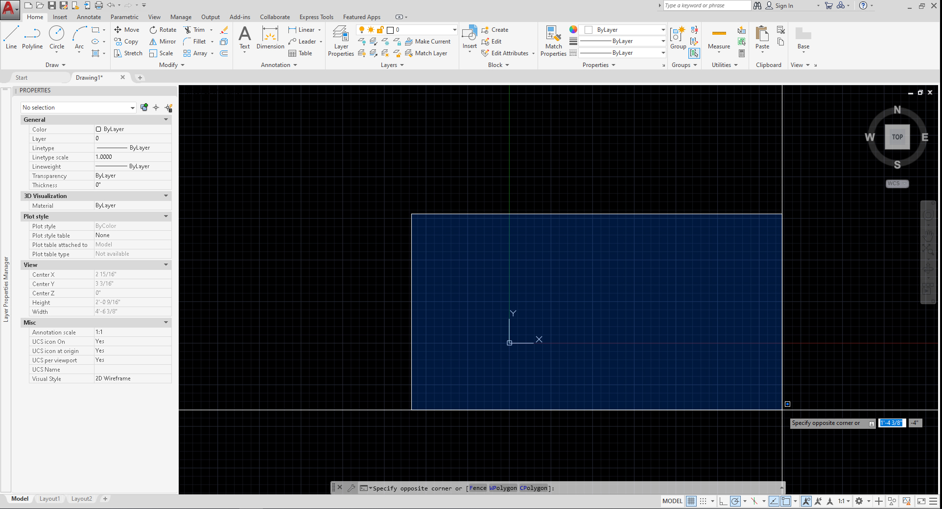 It shows the result of window selection on AutoCAD software. The window selection shows in blue color.