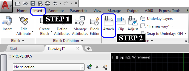 It shows the step to attach the image file to the drawing area. Click the Insert tab and click the Attach icon.