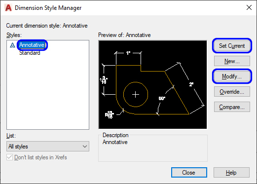 It show how to change the dimension style manager, click annotation, click Set current, and click Modify