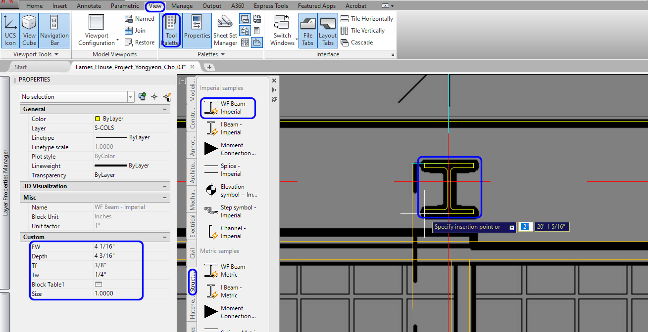 It demonstrates how to use the tool palette and place the column with the template.