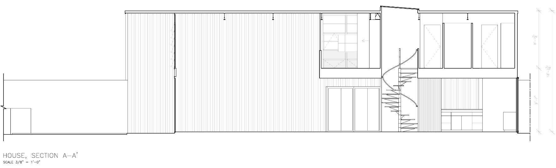 It shows Eames house, House, Section A-A' provided by Eames House as-built drawing, public domain