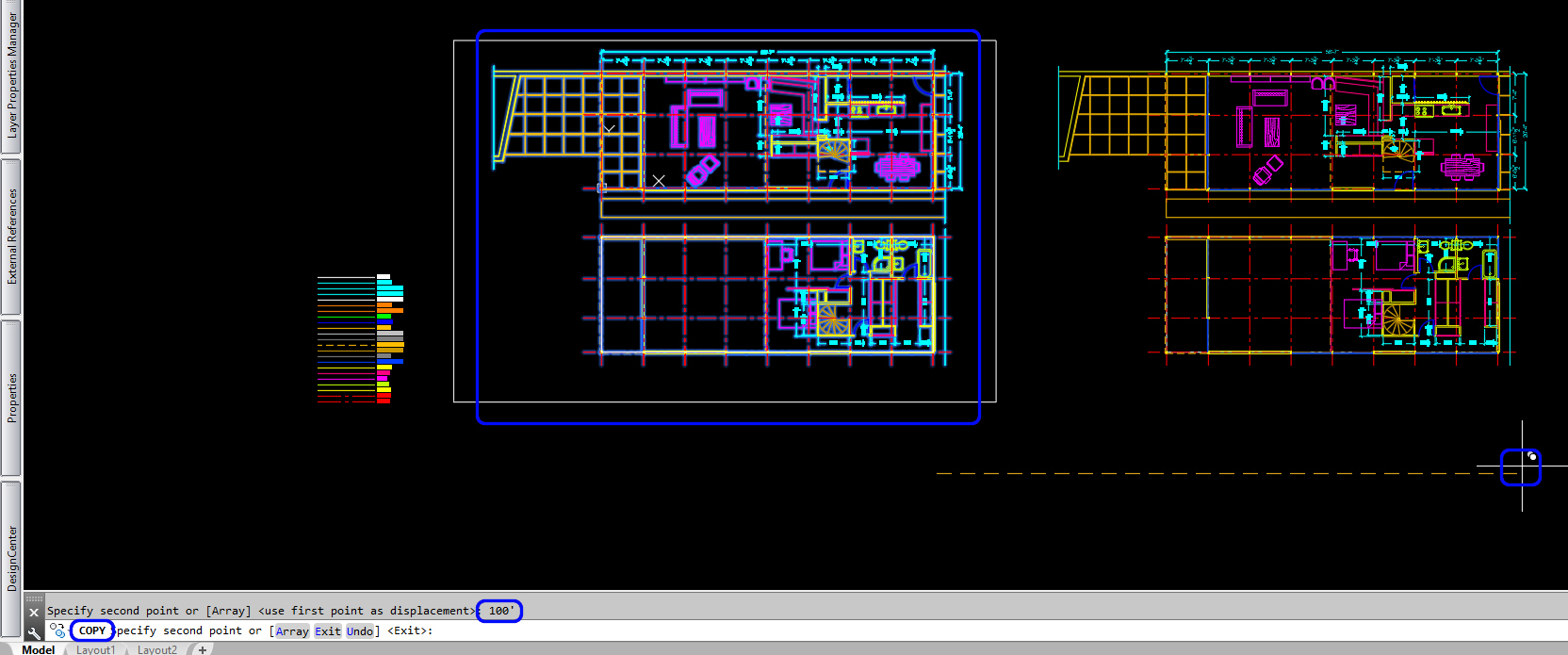 It shows the process image copying floor plans for a section drawing.