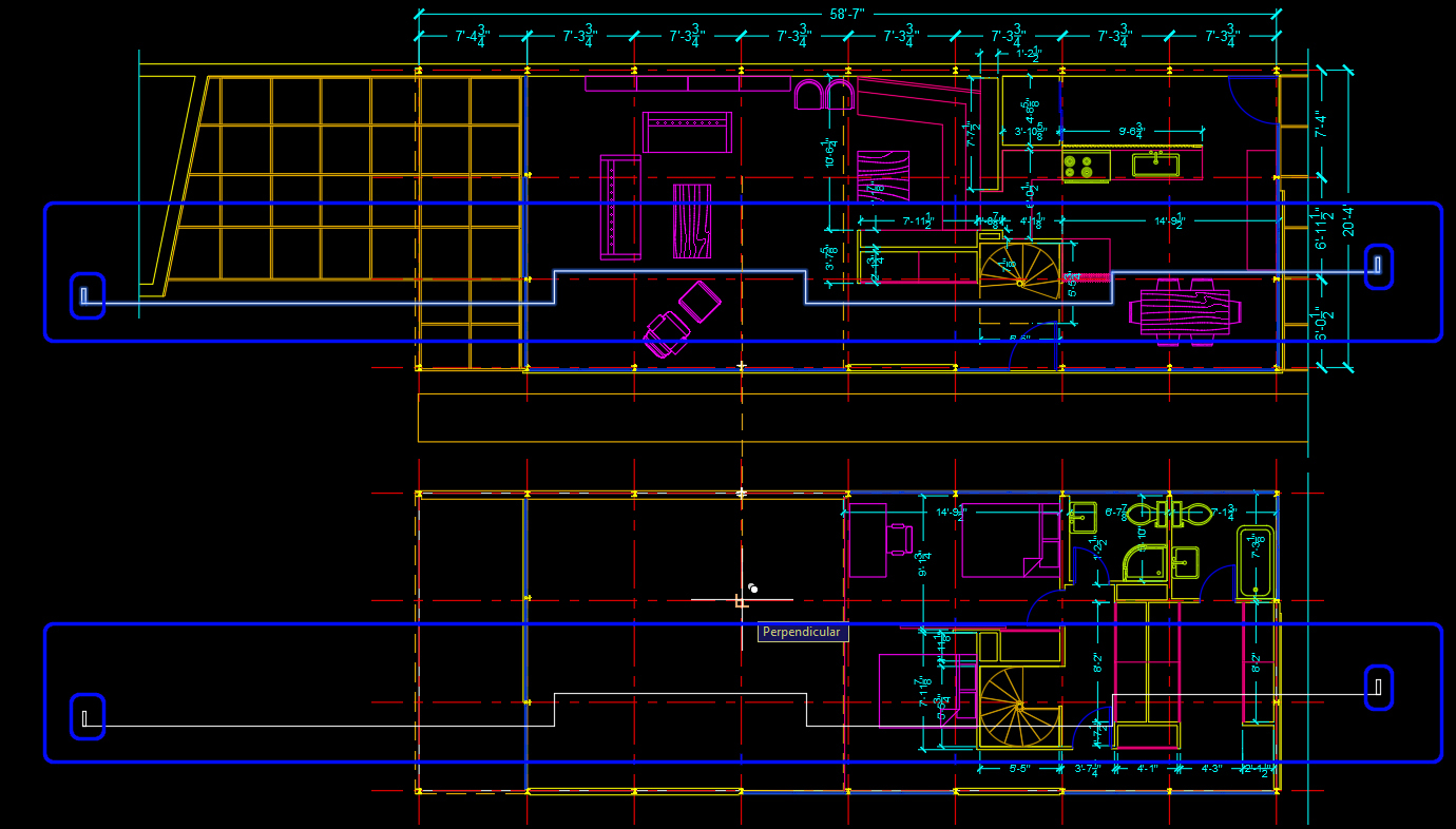 It shows how to draw lines on the floor plans for the section view.