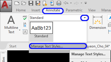 It shows the manage Text Styles.