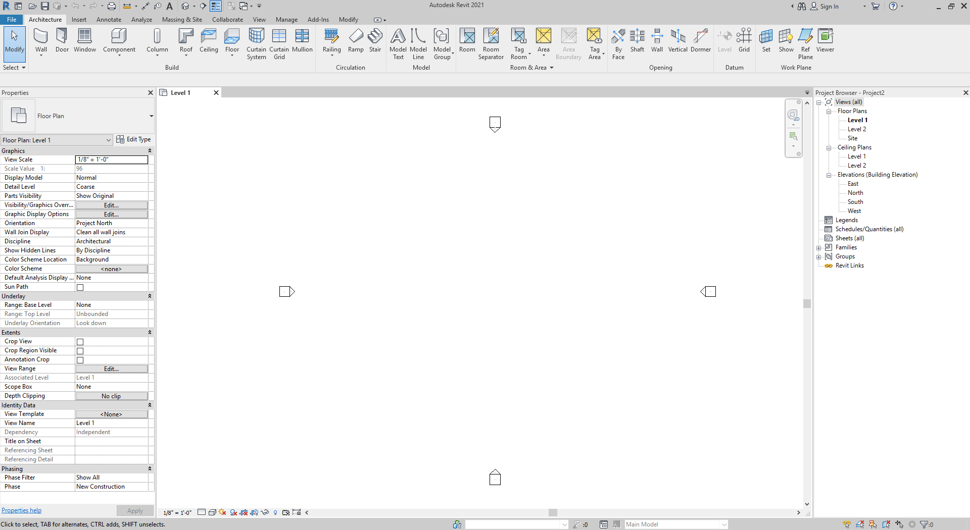 It shows the new revit project and the user interface.