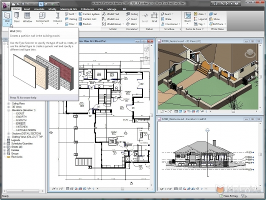 It shows an early version of Revit from wiki media.