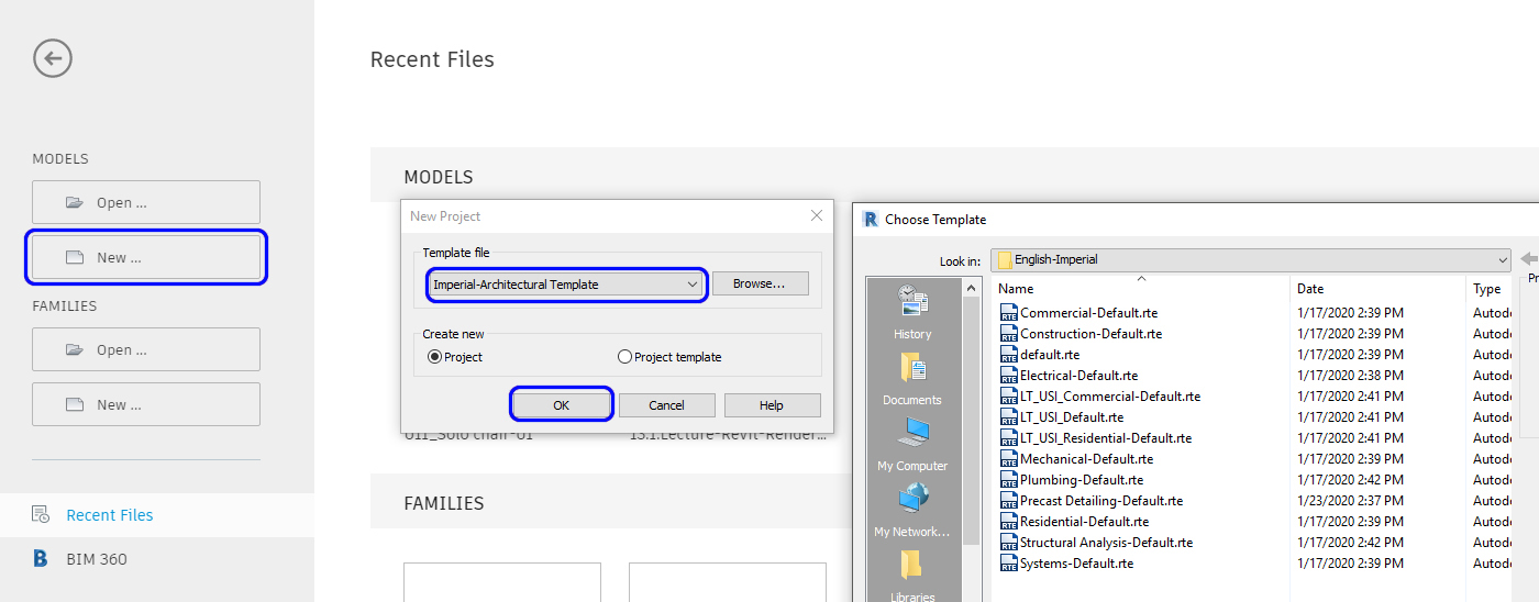 It shows how to create a New file using the template file.