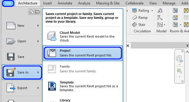 It shows how to save a revit project.