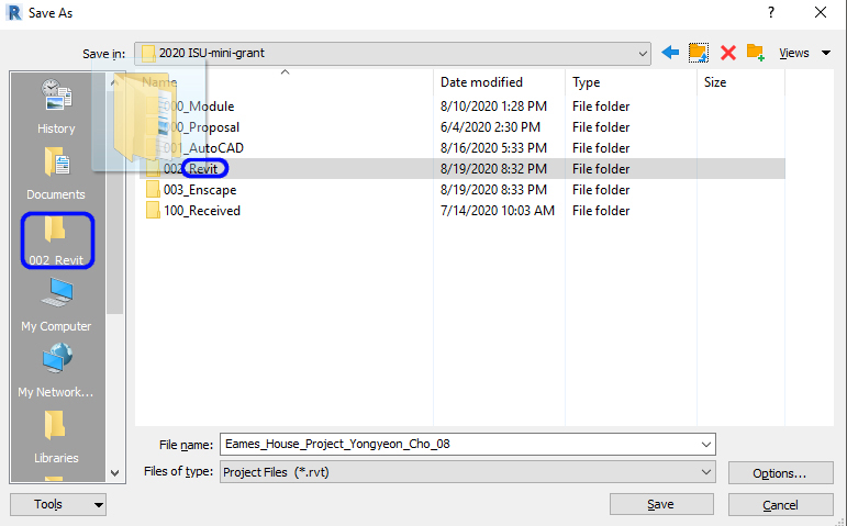 It shows how to save a project folder.