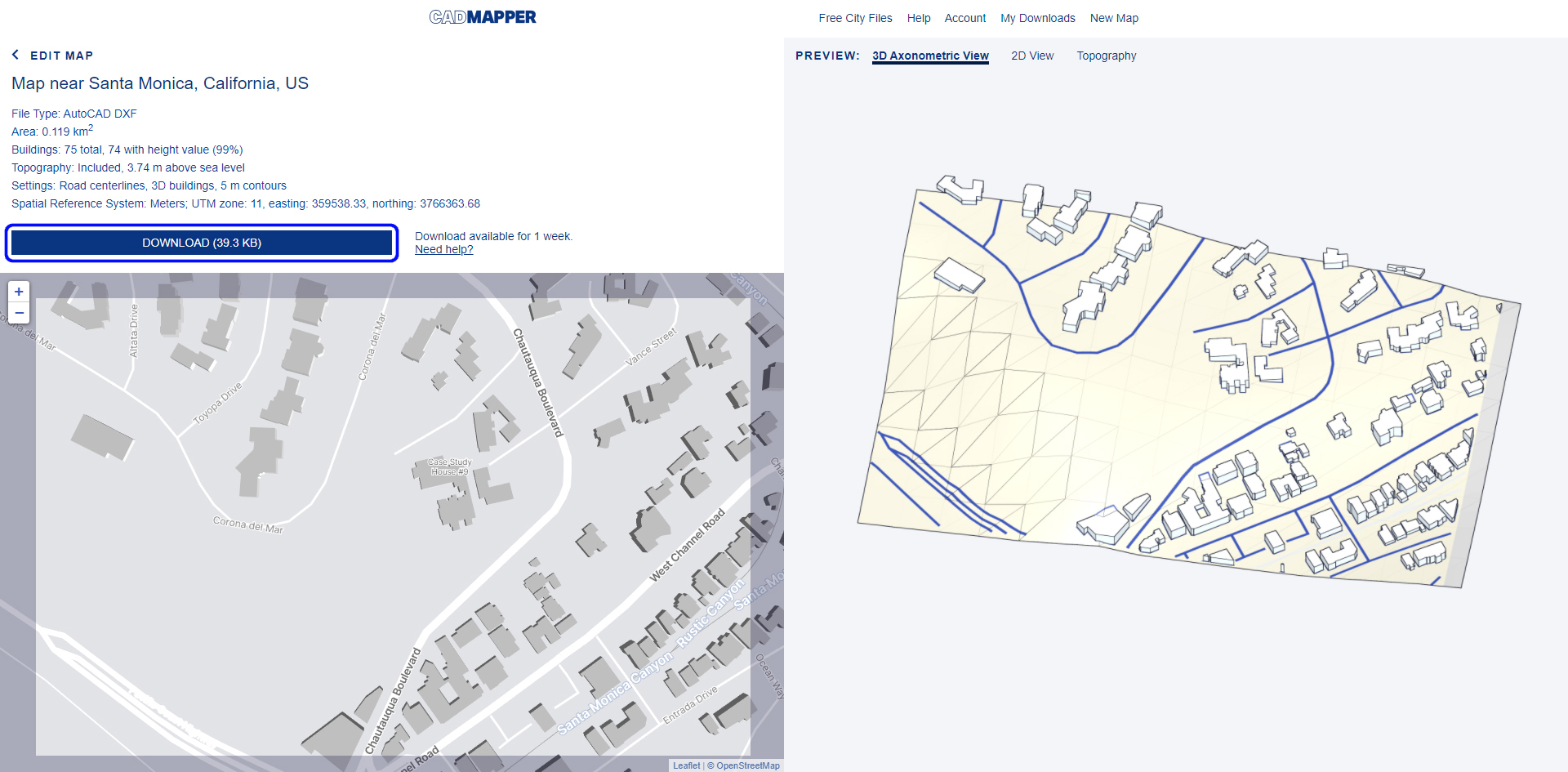 It shows the CAD mapper website for the Eames house project.