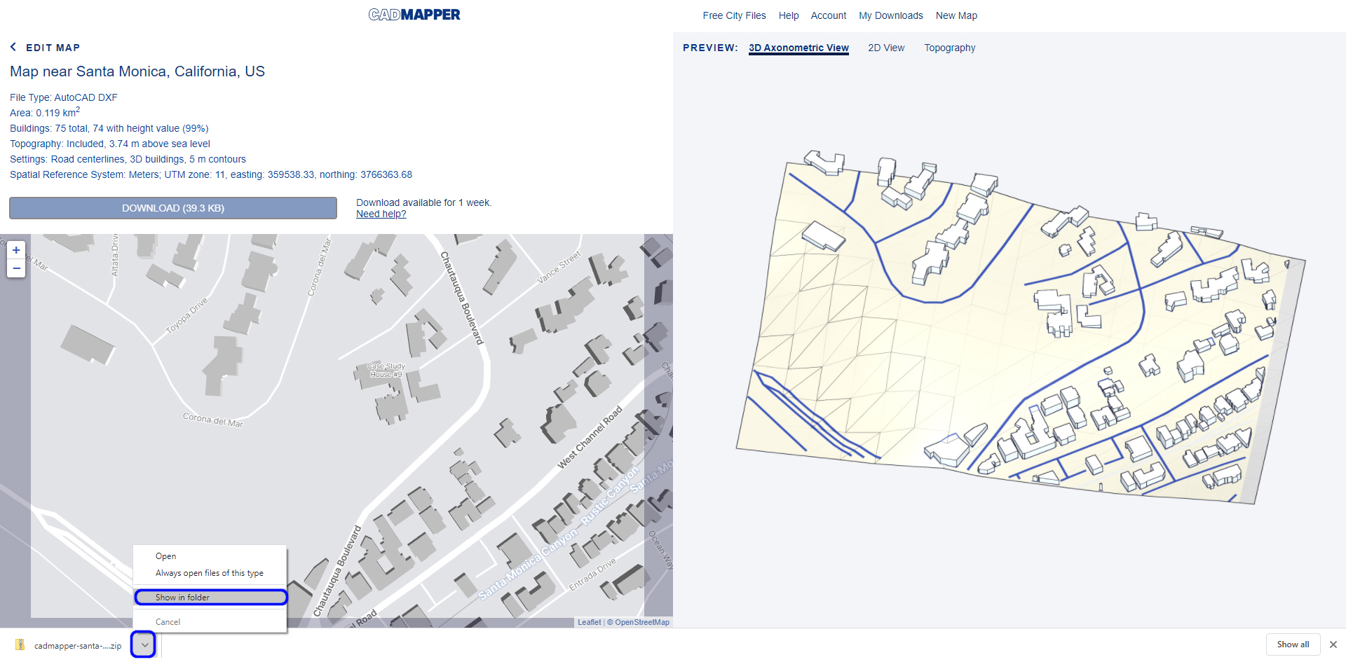It shows the CAD mapper website for the Eames house project and how to open the downloaded folder.