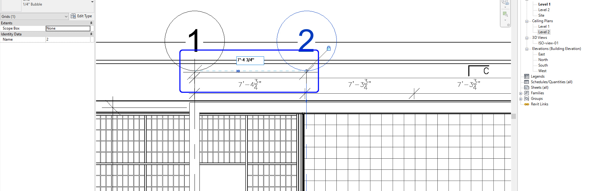 It shows the grid dimensions.