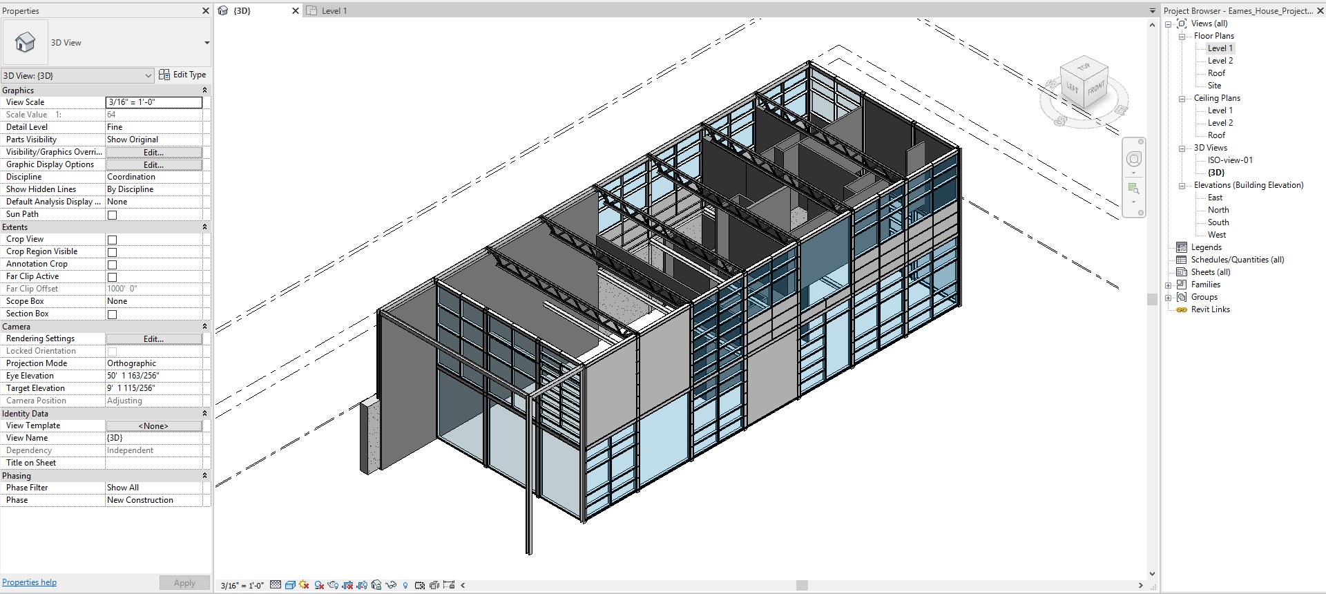It shows the session highlight presenting beams, walls, and curtain walls. This is the expected result at the end of this lecture.
