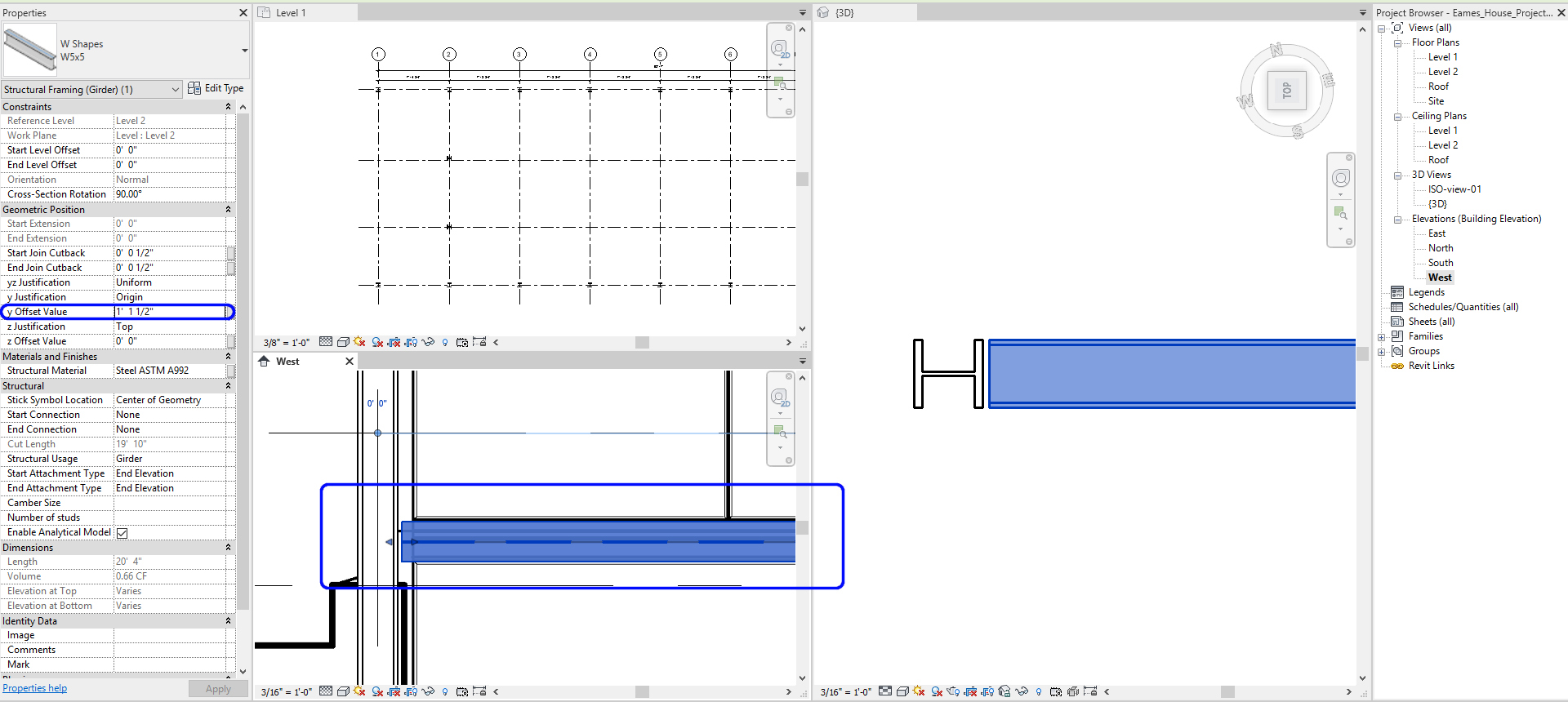 It indicates how to move the beam to align with the imported drawing.