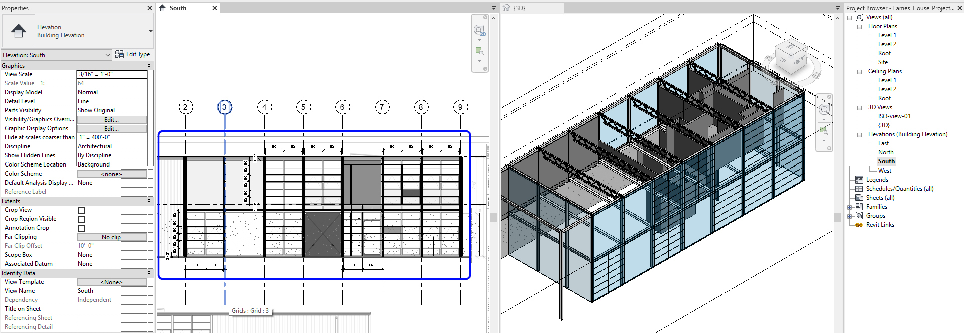 It shows the resulting image after creating curtainwall grids.