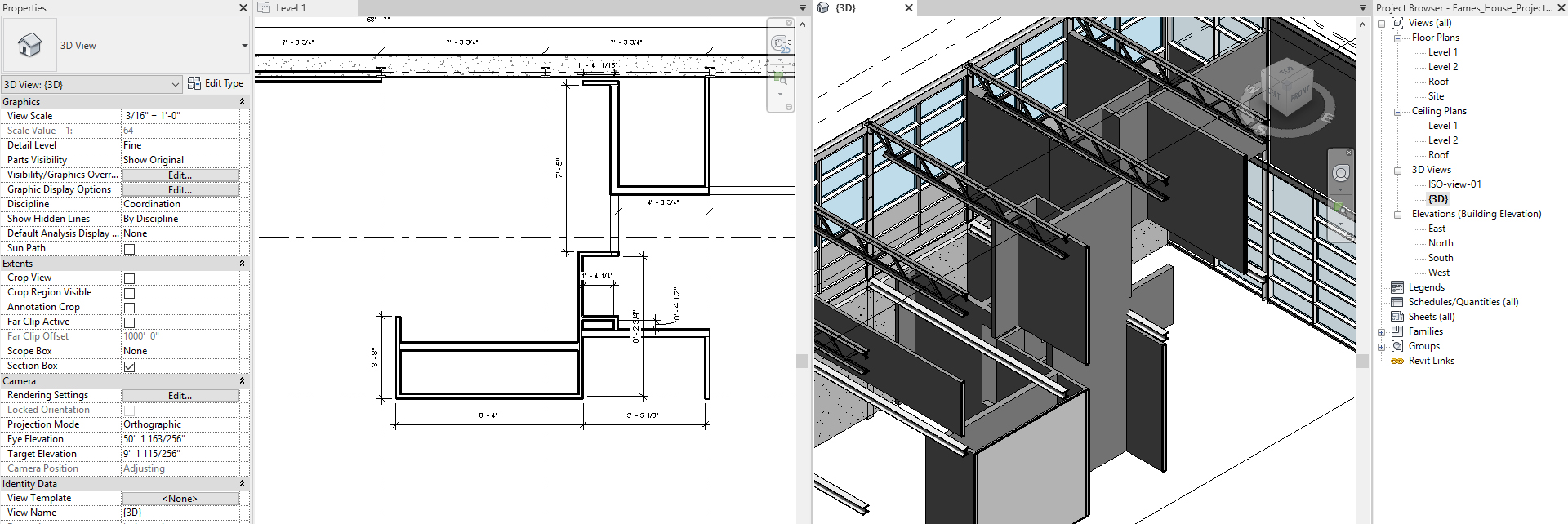 It shows the floor plan view and the 3D view.