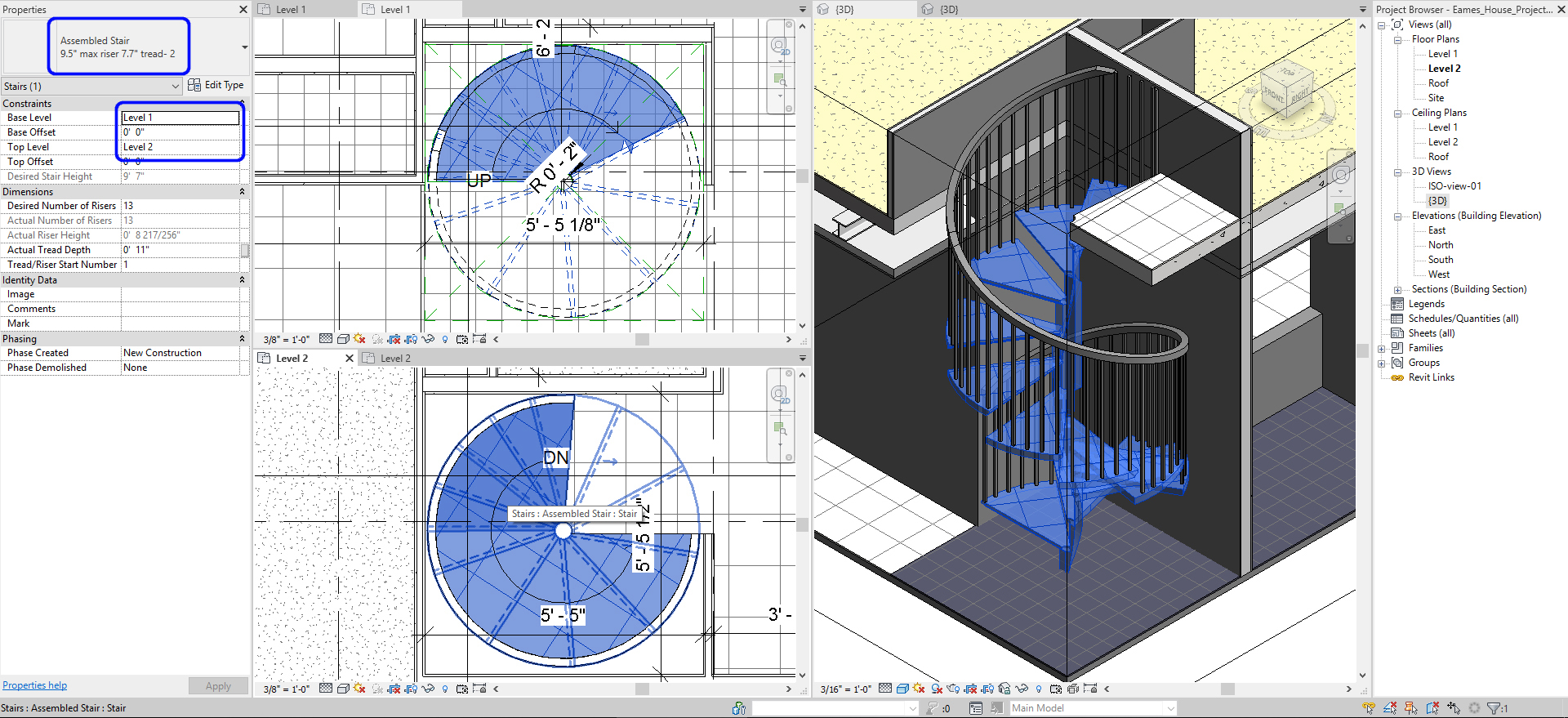 It shows the resulting image for the spiral stair for Eames House.
