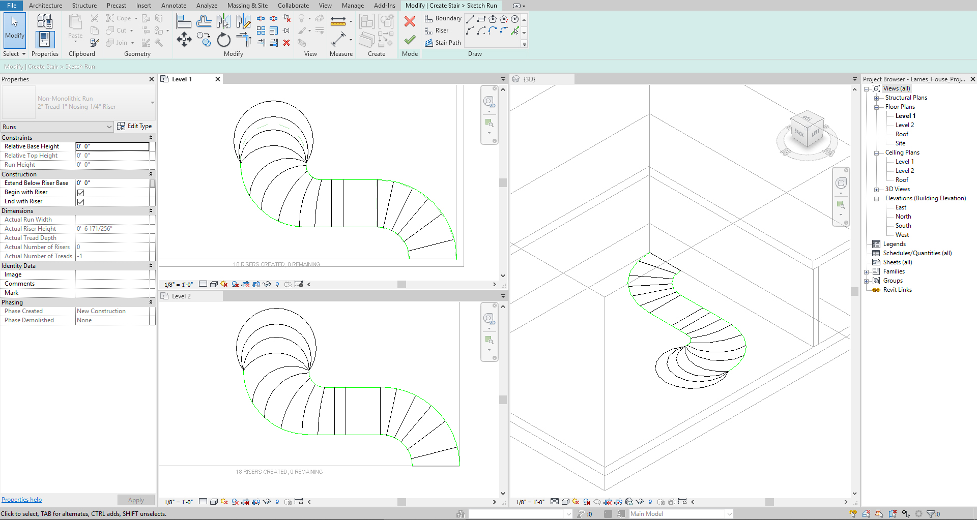 It shows the sketches for the custom stair.