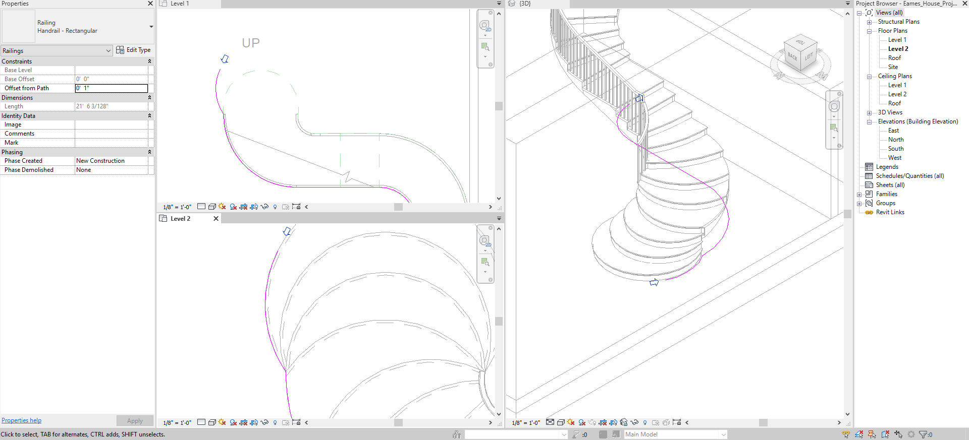 It shows the process image to edit the railing.