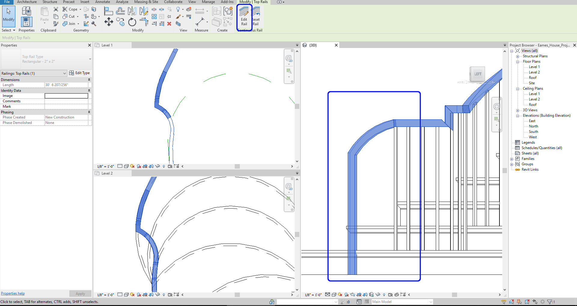 It shows the resulting image after edit the hand railing.