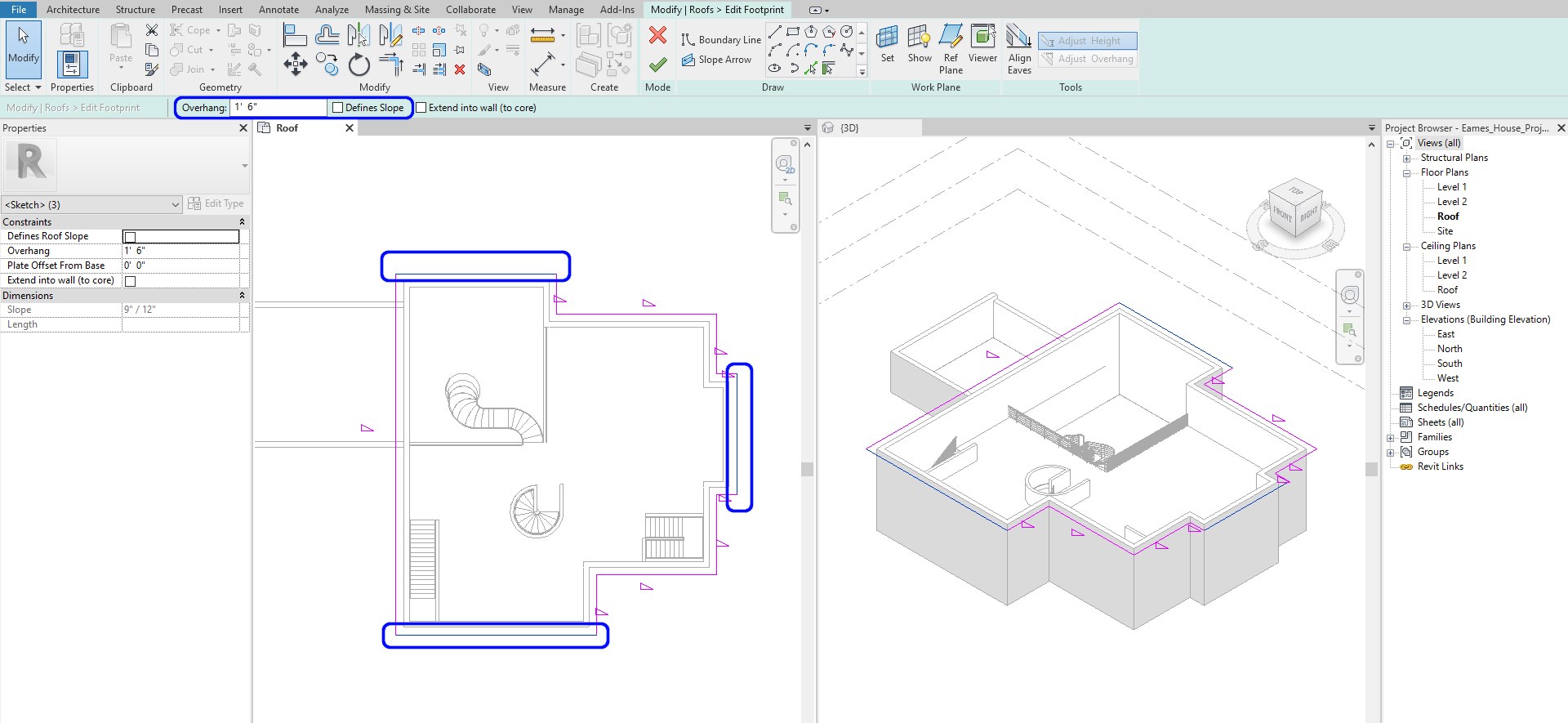 It shows the sketch for a hip roof.