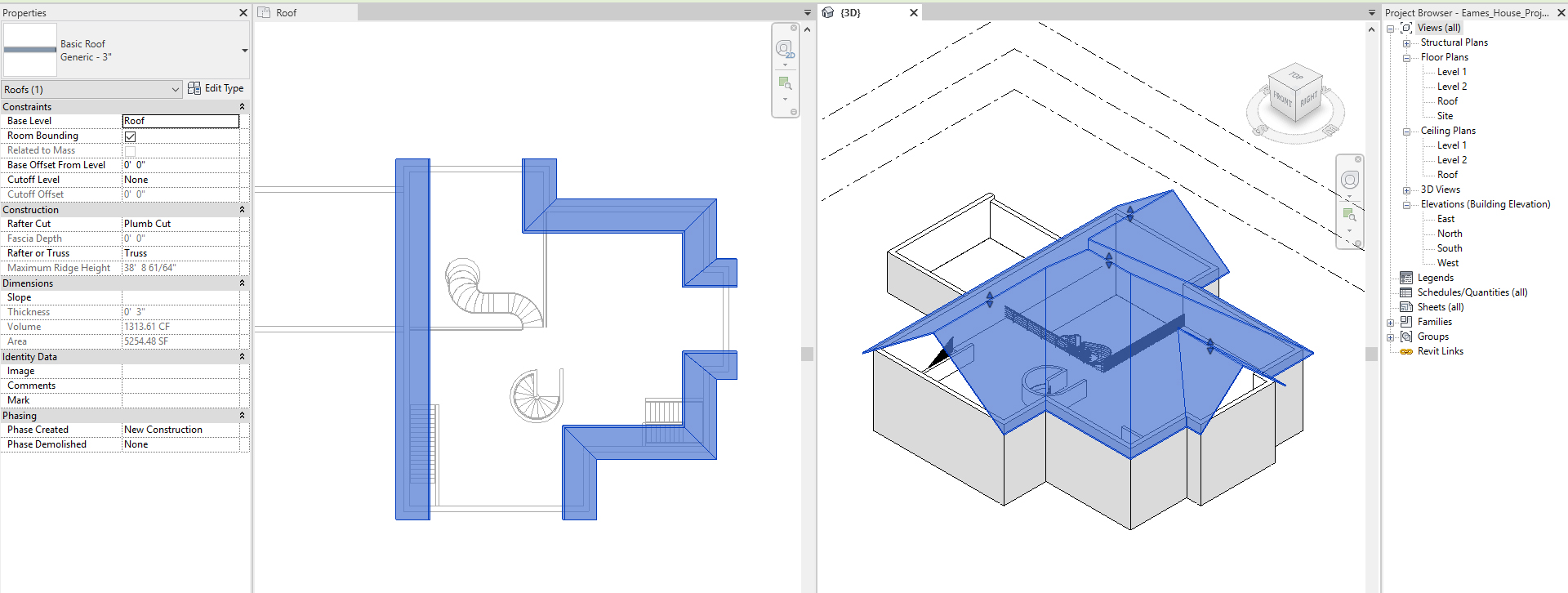 It shows the resulting image after creating a hip roof.