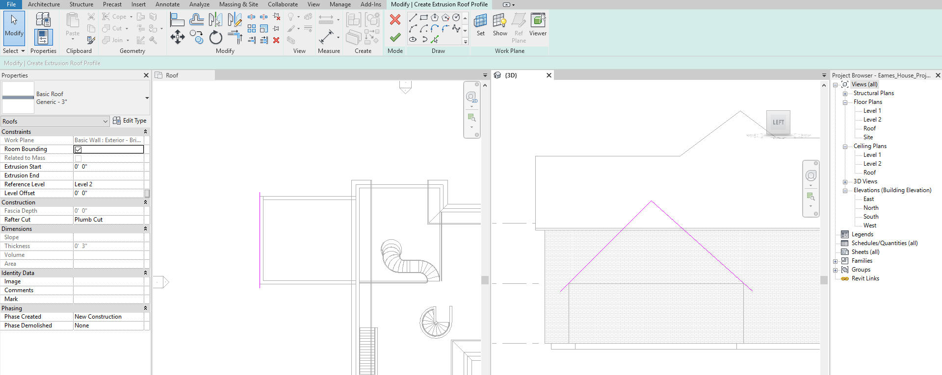It shows the sketch for side of the hip roof.