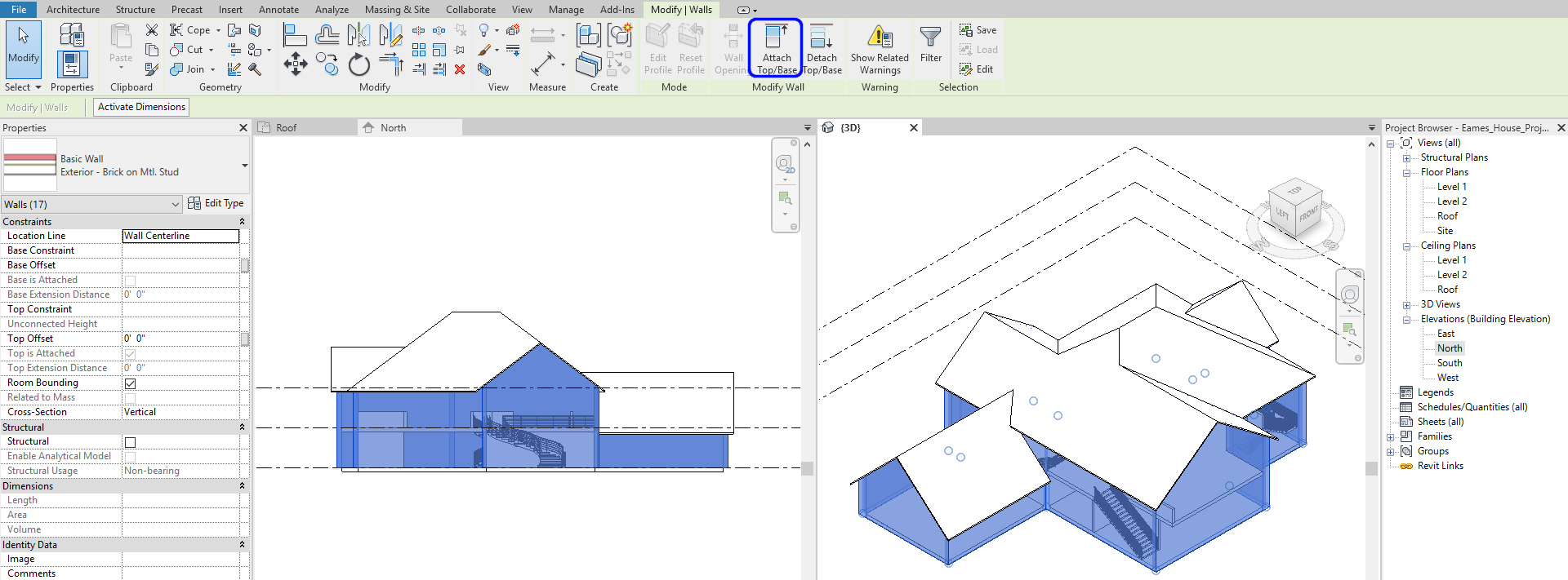It shows the resulting image after attaching the walls to the hip roof.