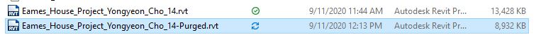 It shows the purged file name and the reduced size of the file.